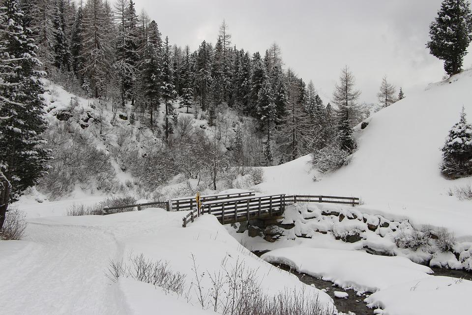Snow, Mountain, River, Bridge, Winter, Alpine, Austria