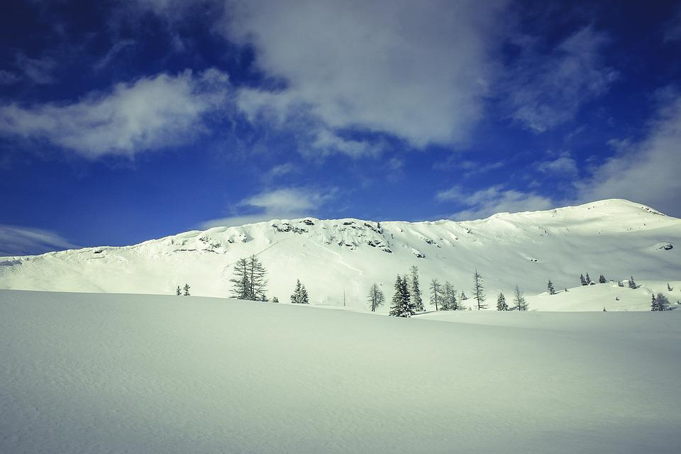 Clouds, Cold, Mountain, Sky, Snow, Trees, Winter