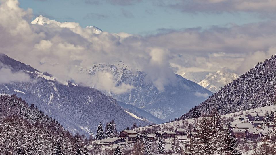 Mountains, Snow, Switzerland, Clouds, Sky, Landscape