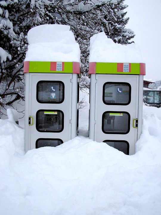 Snow, Phone Booth, Austria, Winter, Snowy, Wintry