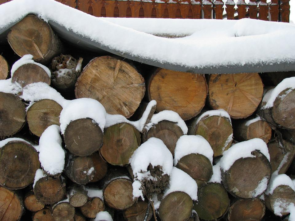 Stacked, Logs, Snow