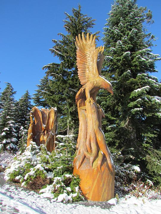 Grouse Mountain, Canada, Vancouver, Snow, Statue