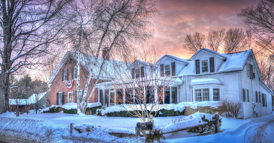 Vermont, Sunset, Winter, Snow, Nature, Landscape, Sky