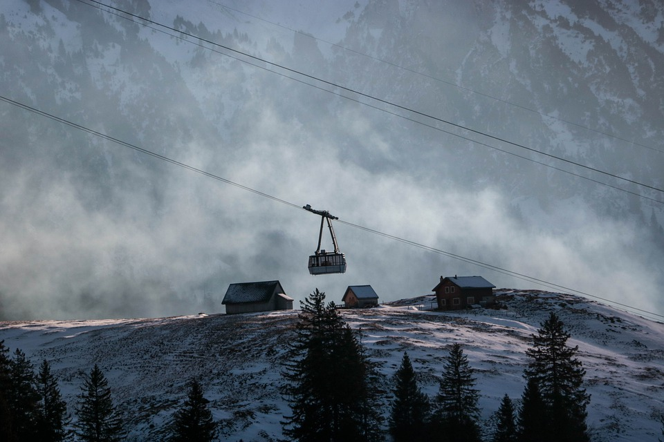 Switzerland, Snow, Mountains, Alps, Cable Car, Winter