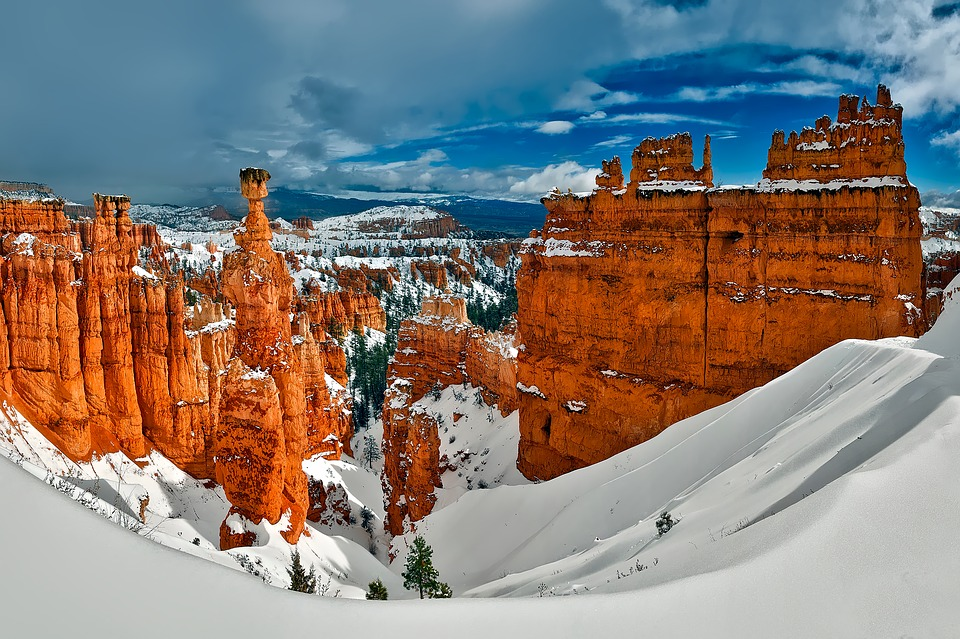 Bryce Canyon, Utah, Winter, Snow, Mountains, Spires