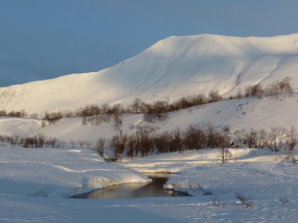 Winter, Mountains, Volcano, The Foot, Snow, Snowdrifts