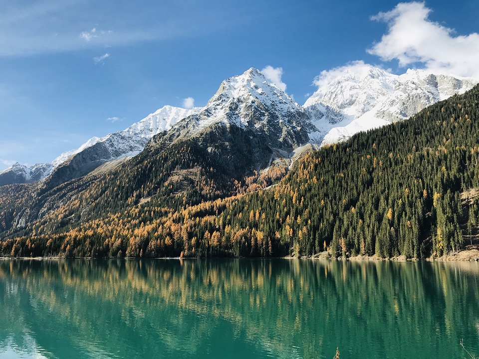 Water, Lake, Mountains, Snow, Summit, Autumn