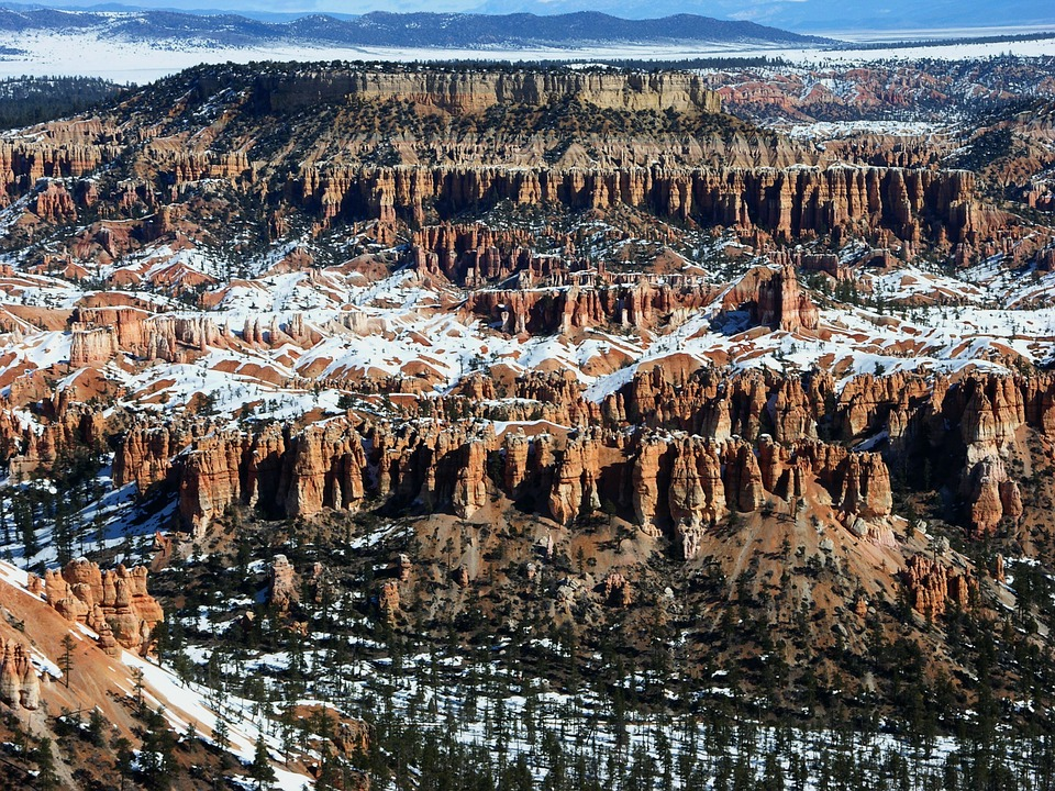 Bryce Canyon, Utah, Mountains, Formations, Winter, Snow