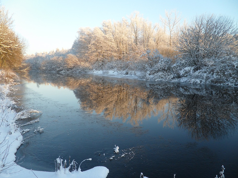 Winter, Beautiful, Snow, Frost, River, Mirroring