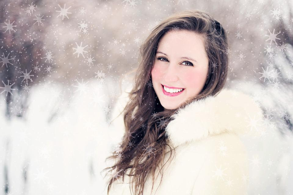 Woman, Snow, Winter, Portrait, Snowflakes, Smiling