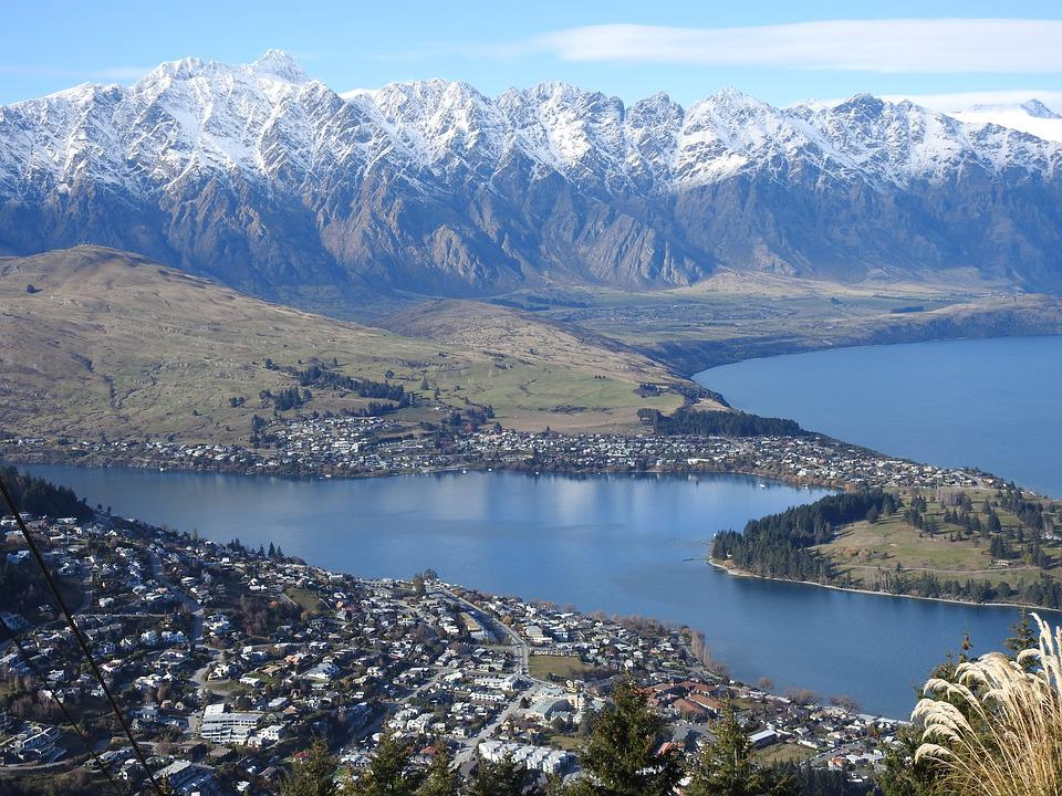 Lake, Queenstown, Sky, Snow-capped Mountain