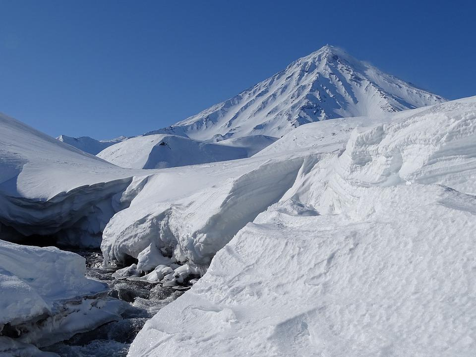 Mountains, Volcano, Winter, Snow, Snowdrifts