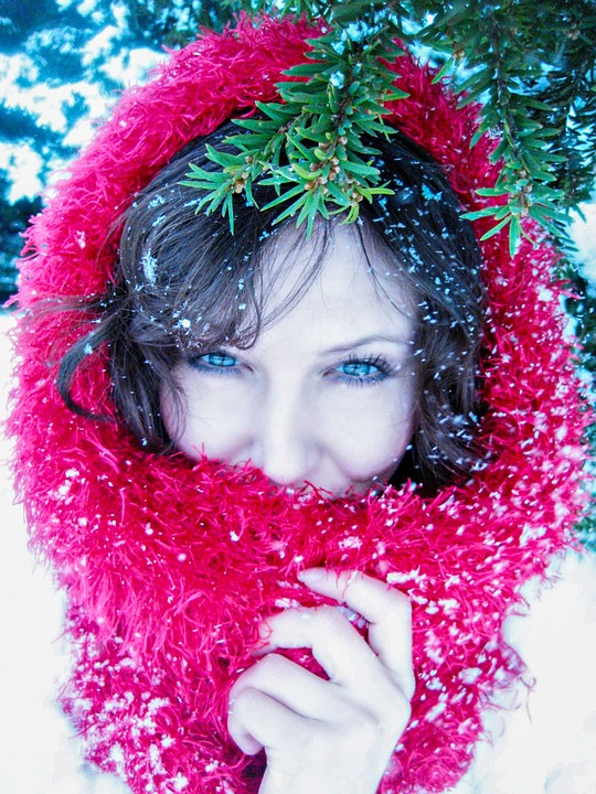 Lady In Red, In The Snow, Snowfall, Mistletoe, Woman