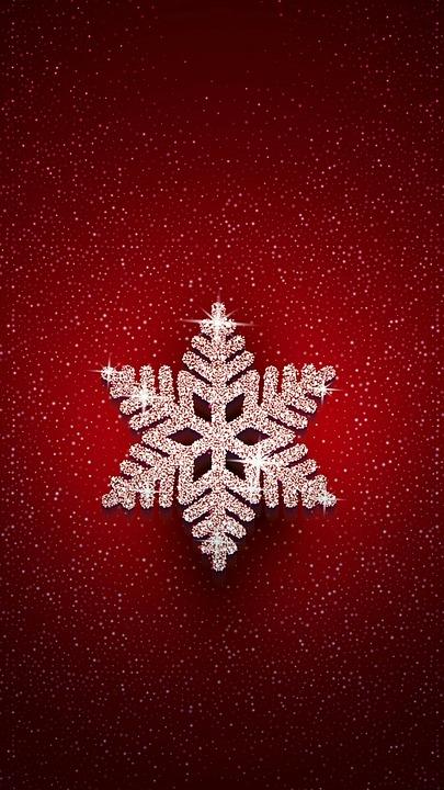 Snowflake, Stars, Shine, Night, Red Background