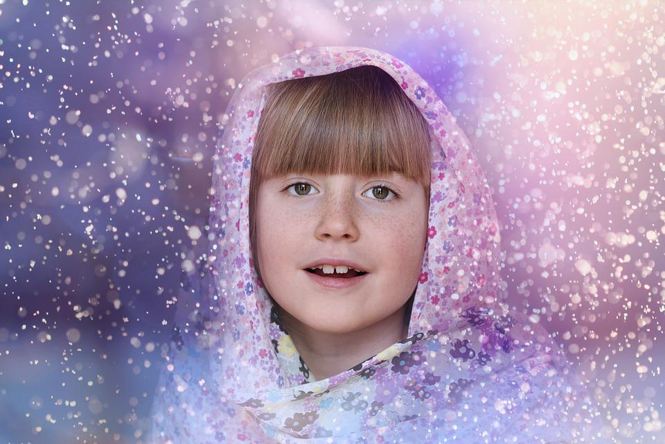 Child, Girl, Face, Headwear, Snowflakes