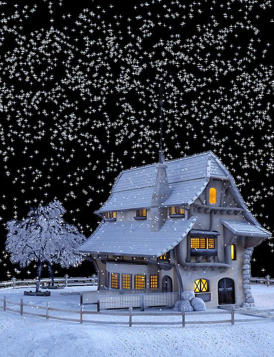 Christmas, Winter, Snow, Snowflakes, Landscape, Home