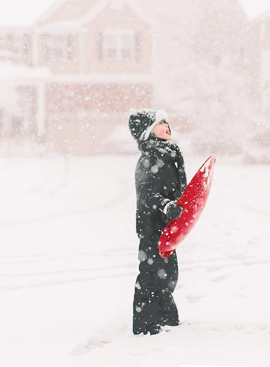 Snow, Sled, Winter, Sledding, Boy, Outdoor, Snowflakes