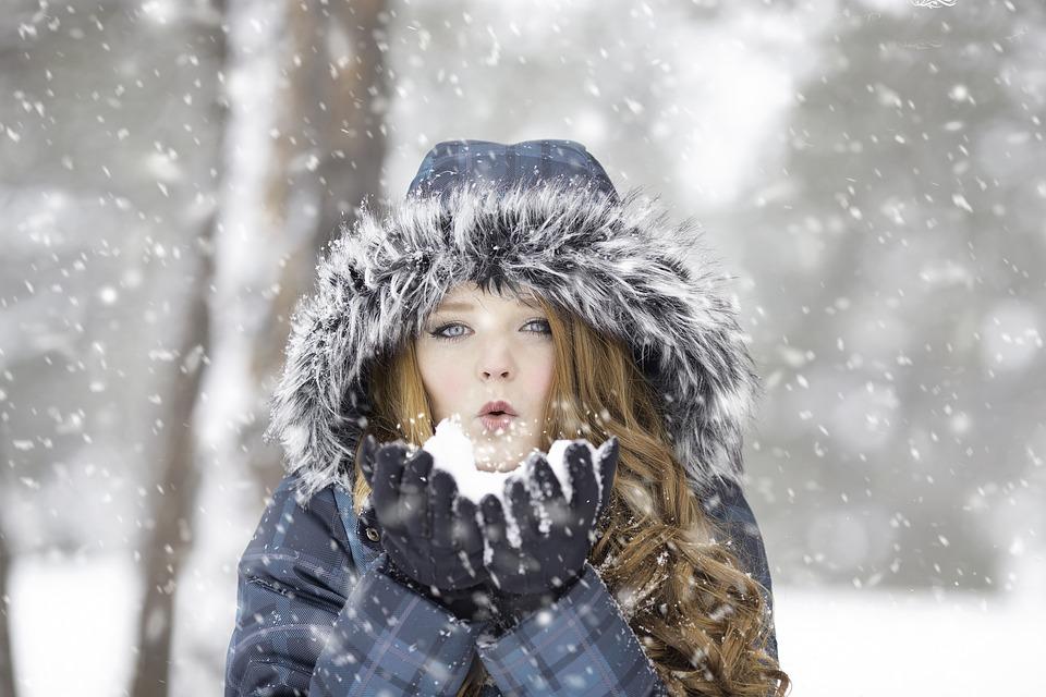 Woman, Snow, Blow, Winter, Snowing, Snowfall, Cold
