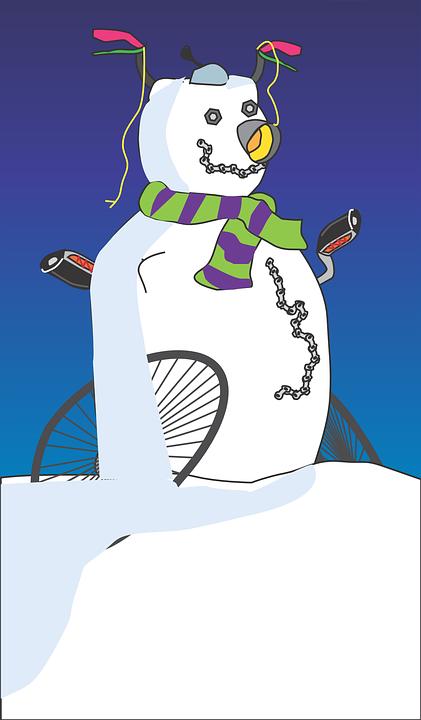 Snowman, Winter, Bike, Scarf