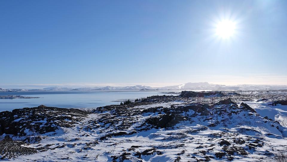 Lake, Mountain, Thingvellir National Park, Snowman