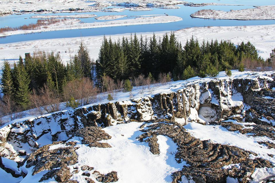 Lake, Mountain, Thingvellir National Park, Snowman