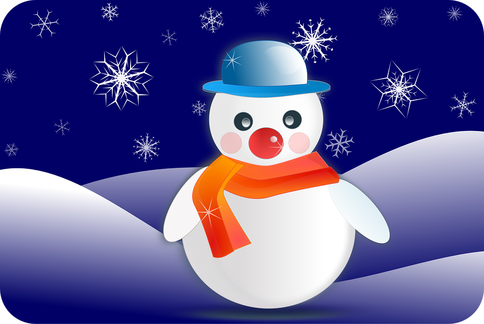 Snowman, Glossy, Postcard, Snowflakes, Winter, Scarf