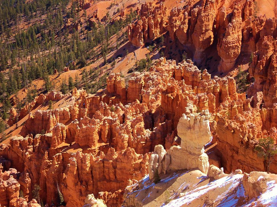 Bryce Canyon, Red Rocks, Snowy Mountain, Valley, Canyon
