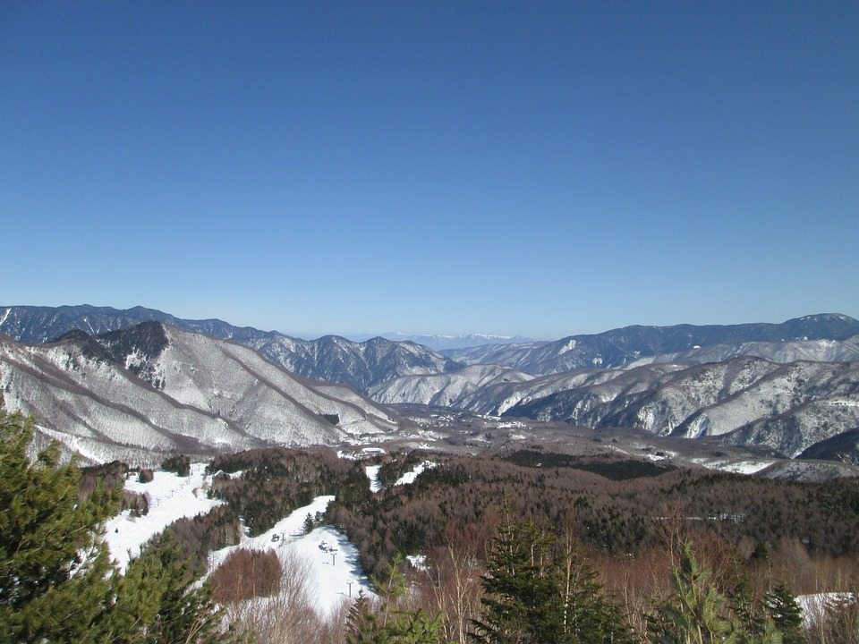 Nagano, Japan, Snowy Mountains, Landscape