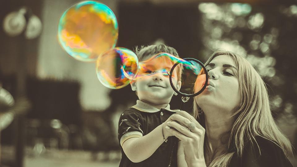 Son, Mother, Family, Mom, Bubbles, Soap Bubbles, Bw