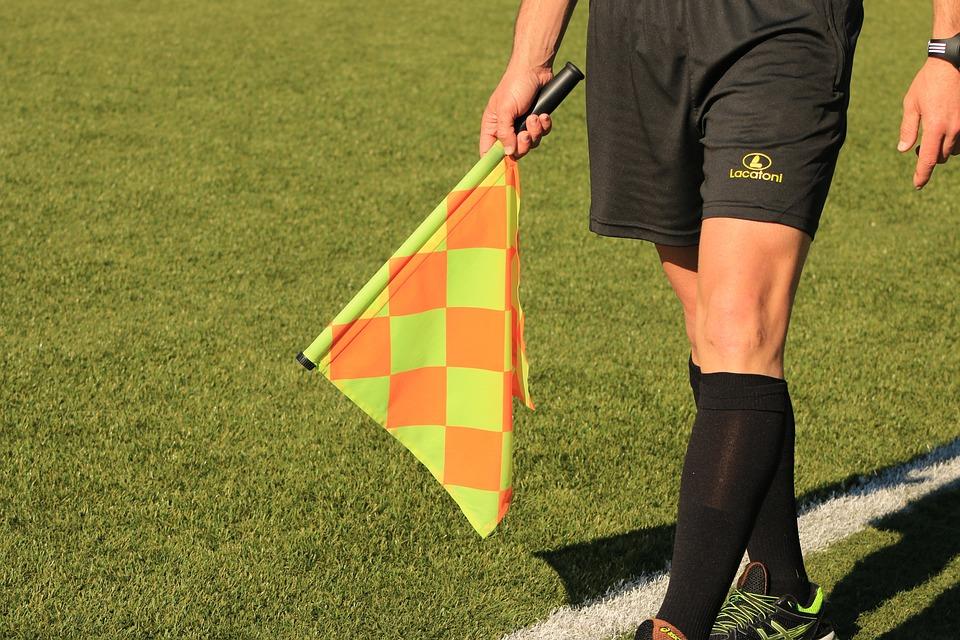 Flag, Lineman, Referee, Soccer Match, Field, Sport