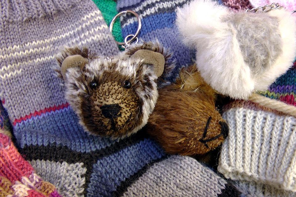 Keychain, Bear, Soft Toy, Purry, Socks
