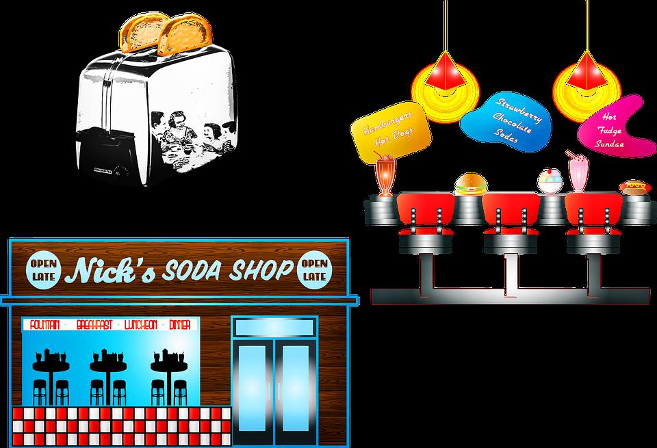 Retro 1950's Clip Art, Soda Shop, Diner, Toaster