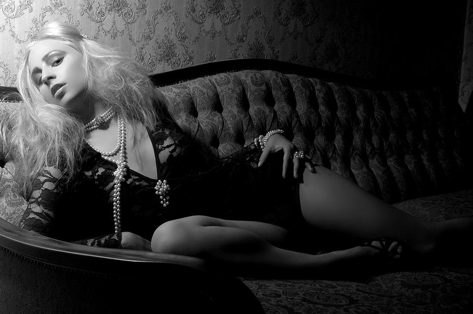 Blonde, Woman, Studio Photo, Sofa, Lingerie, Model