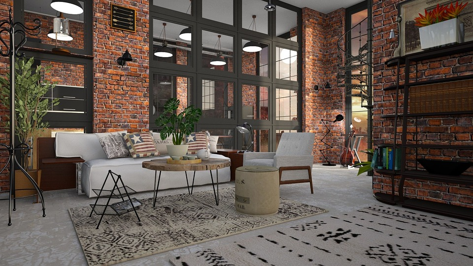Loft, Brick, Sofa, Room, Window, Couch, Furniture