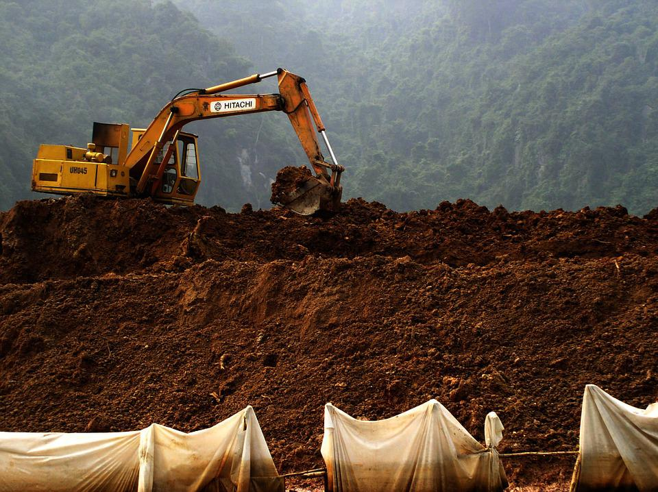 Digging, Soil, Hill, Machine, Fishing Net, Frame, Land
