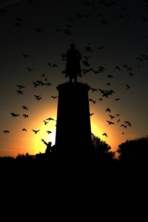 Silhouette, Dusk, Sunset, Moon, Evening, Soldier
