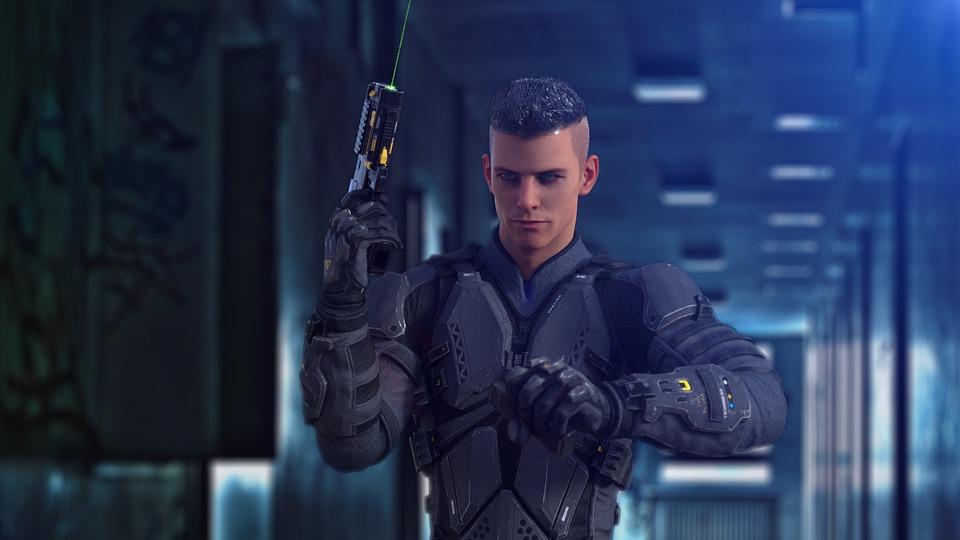 Soldier, Warrior, Gun, Weapon, Pistol, Futuristic