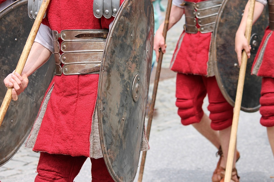 Soldiers, Romans, Armor, Shield, Spear, Parade, Rome