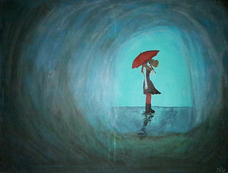 Rain, Umbrella, Solitude, Sadness, Woman, Blue