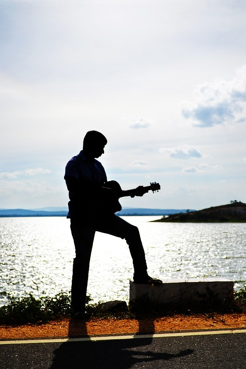 Guitarist, Silhouette, Sunset, Song, Music, Guitar