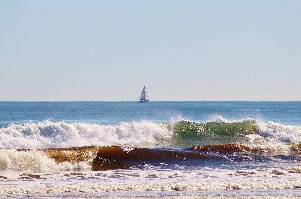Cape Town, South Africa, Sea, Surf, Sailing Boat
