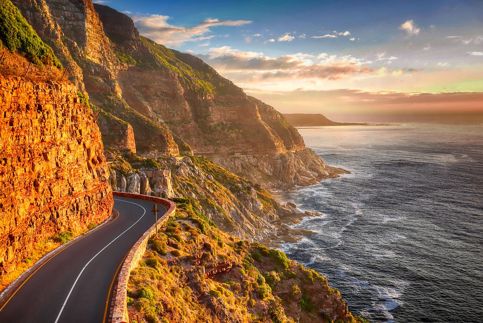 Road, Coast, Cliff, Sunset, Mountains, South Atlantic