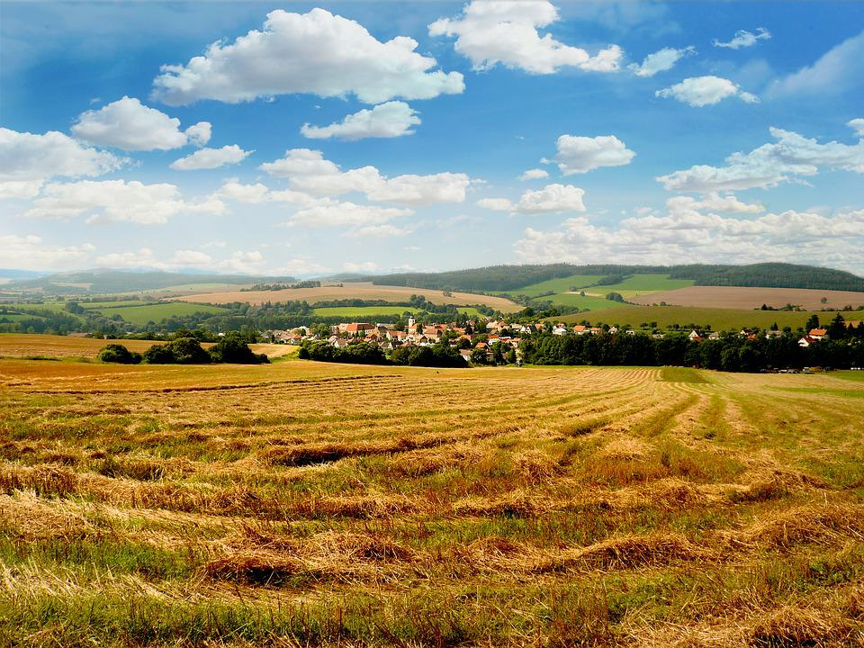 Bohemia, South Bohemia, Village, Landscape, Field