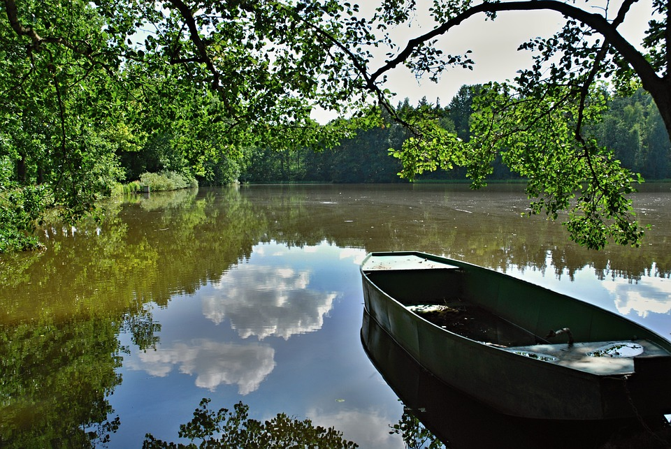 Pond, Water, Rowboat, South Bohemia, Surface, Clouds