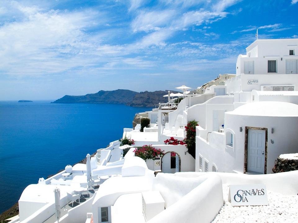 Greece, Sea, Sea View, South, Santorini, Sky, Sun