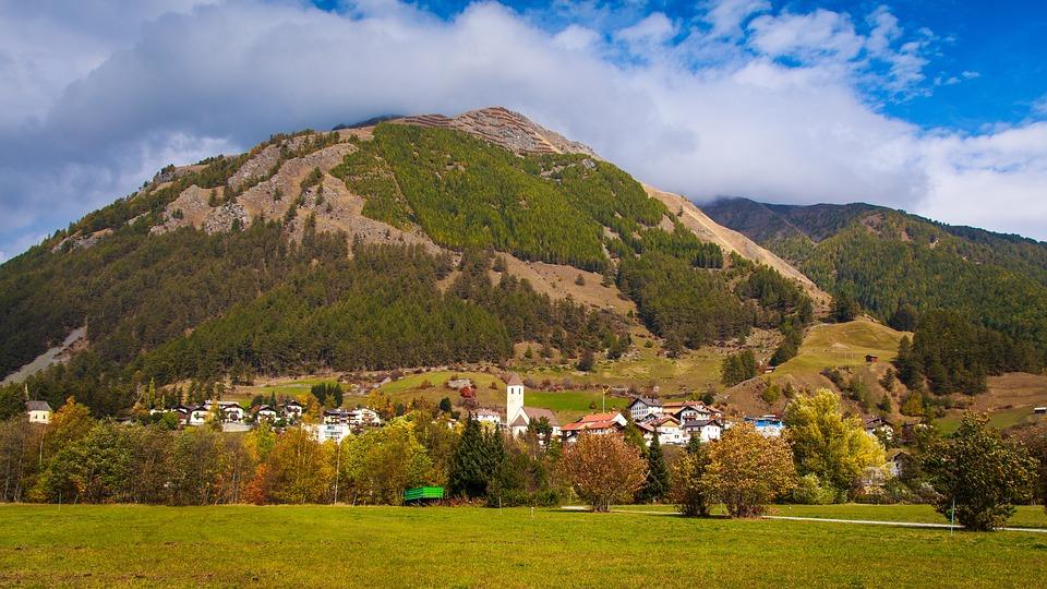 Bergdorf, South Tyrol, Reschensee, Mountains, Landscape
