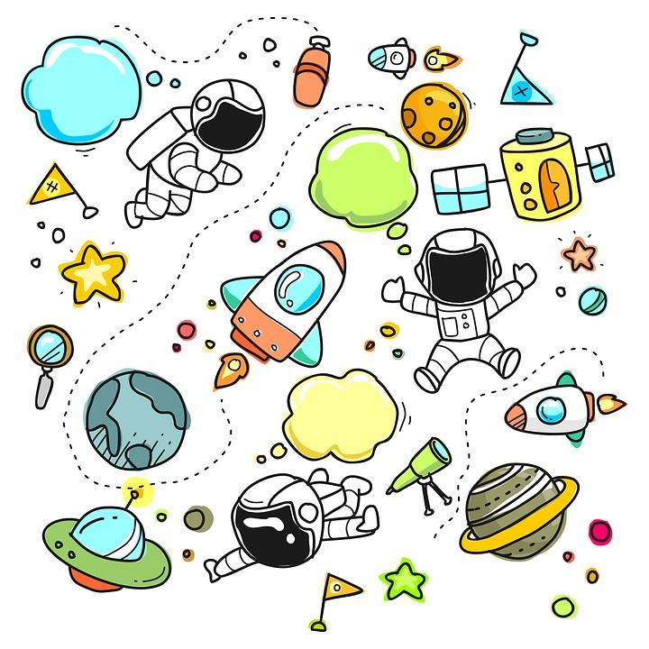 Sketch, Cartoon, Space, Set, Collection, Astronaut