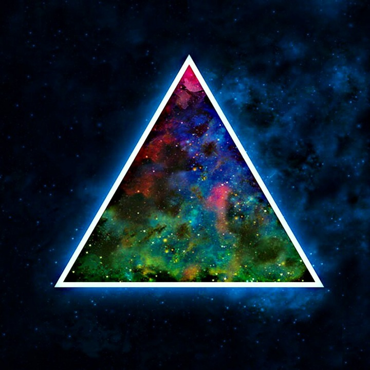Space, Triangle, Bright, Blue, Abstract