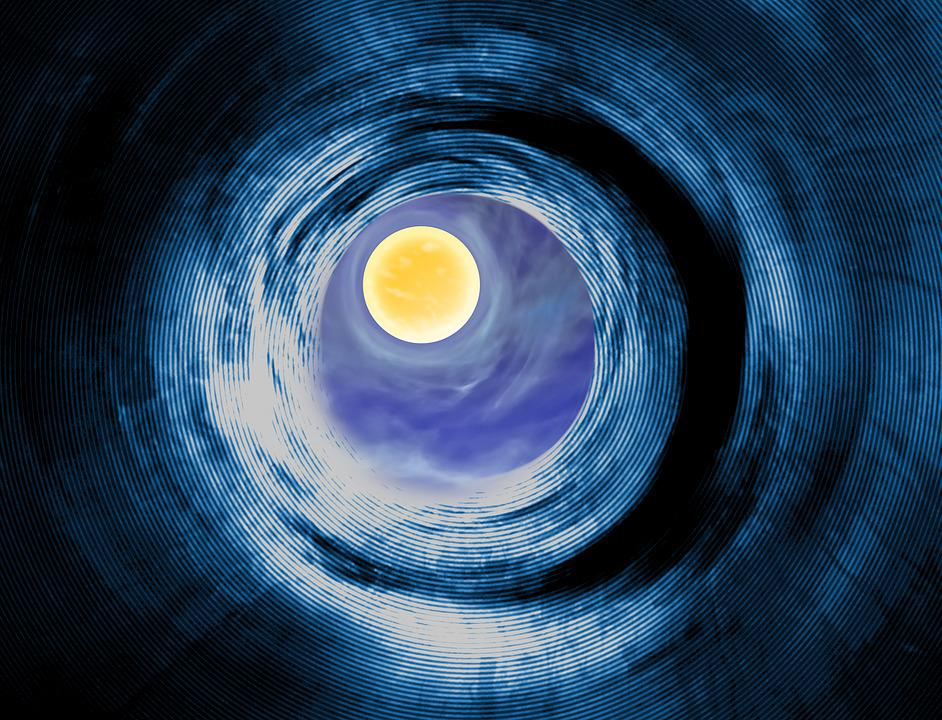Tunnel, Wormhole, Spacetime, Planet, Moon, Light, Space
