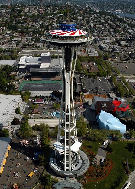 Seattle, Washington, Space Needle, Flag, Memorial Day